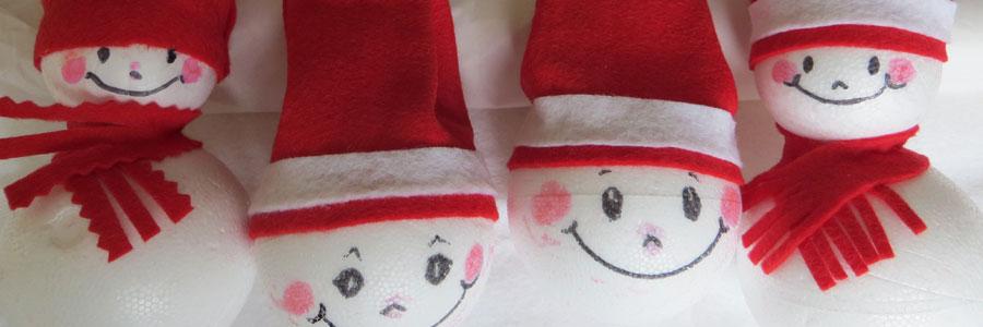 Boules en polystyrène a décorées pour Noël